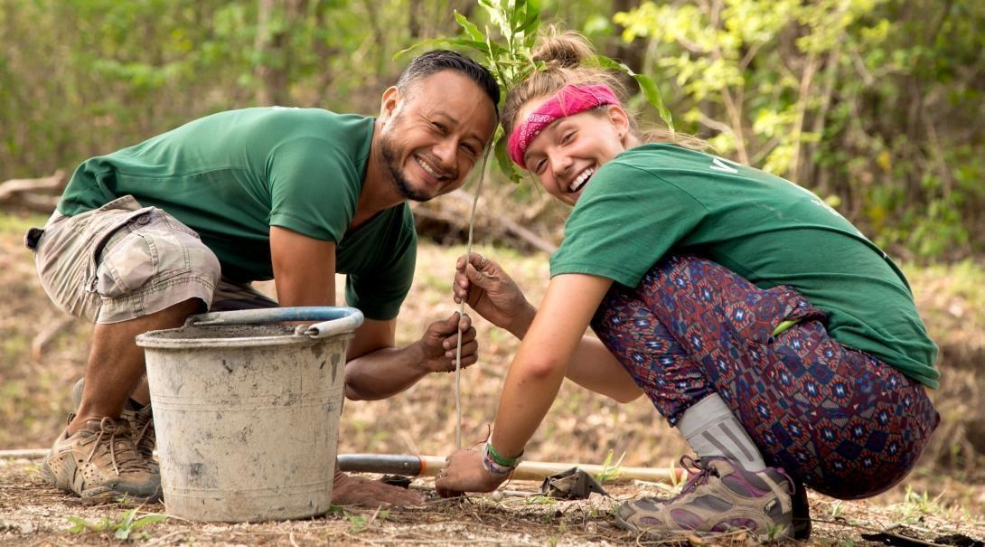 Conservation volunteers helping to plant trees